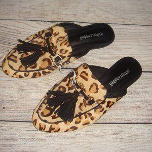 Jeffrey Campbell Tassel Leopard Calf Hair Mule 7.5